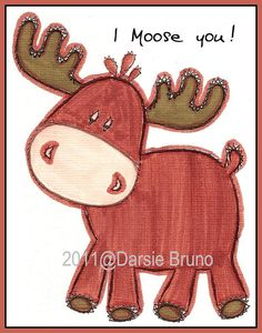 moose to embroider | Moose Animal Paper Embroidery Pattern for Greeting Cards by Darse