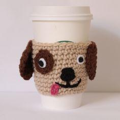 Puppy coffee cozy, crochet Coffee Sleeve, Animal can cozy, doggie cof… Crochet Coffee Cozy, Coffee Cup Cozy, Crochet Cozy, Mug Cozy, Crochet Gifts, Dog Coffee, Coffee Menu, Coffee Girl, Coffee Cafe
