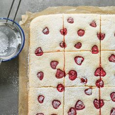 We love this raspberry buttermilk sheet cake recipe sprinkled with sugar and cut into squares. It's an easy way to enjoy spring berries.
