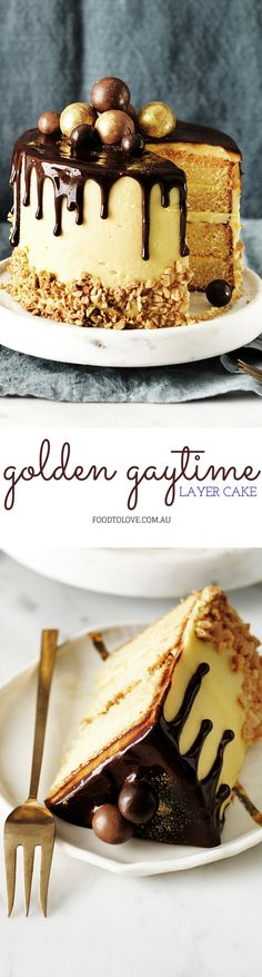 Pull out all the stops for your next special event with this incredible Golden Gaytime-inspired cake from The Australian Women's Weekly's 'Cake and Co.' cookbook. This four-layer wonder is coated in a delicious malted buttercream and playfully decorated with a rich dark chocolate ganache and your favourite chocolates. Absolutely stunning!
