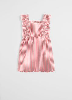 Cotton fabric Short design Flared design Striped design Ruffles detail Elastic straps Elastic waist Button fastening on the back section Kids Outfits Girls, Girl Outfits, Girls Dresses, Summer Dresses, Red Stripes, Stripes Design, Flare, Kids Usa, Manga