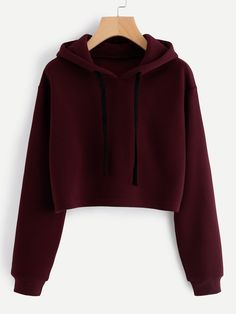 SweatyRocks Burgundy Hooded Drawstring Cashmere Sweatshirt Long Sleeve Casual Pullovers Autumn Women Sweatshirt - How To Be Trendy Girls Fashion Clothes, Teen Fashion Outfits, Girl Outfits, Crop Top Outfits, Cute Casual Outfits, Jugend Mode Outfits, Hooded Sweatshirts, Hoodies, Fashion Sweatshirts