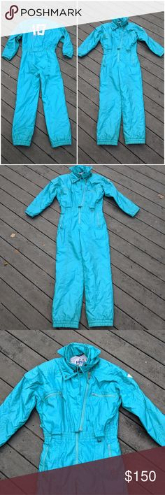 """Vintage 90s Teal Ski-Suit 