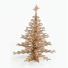 Cardboard Snowflake Tree Table Top Decoration by CardboardSafari Cardboard Tree, Cardboard Christmas Tree, Diy Christmas Tree, Modern Christmas, Holiday Tree, Holiday Wreaths, Xmas Tree, Christmas Projects, Christmas Tree Decorations