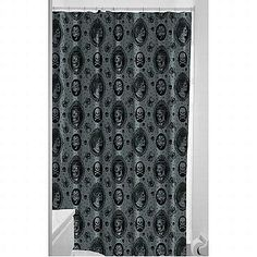 Haunted Mansion Shower Curtain     Enter if you dare! This haunted mansion shower curtain features ghostly images of a man and woman, spiders, skulls and more.  -Polyester -Machine Washable -72 x 76 inches -Plastic liner not necessary -Made by Sourpuss Clothing