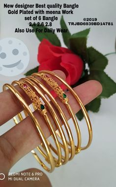 Plain Gold Bangles, Solid Gold Bangle, Ruby Bangles, Silver Ankle Bracelet, Gold Bangles Design, Gold Jewellery Design, Gold Jewelry Simple, Gold Rings Jewelry, Gold Jhumka Earrings