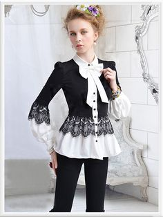 ImpressionSense - Black White Bow Lace Holiday Lovely Long Sleeve Layer Shirt