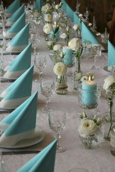 Tiffany blue color fits well with a multitude of colors and looks amazing in wedding decor. Here are some ideas of Tiffany blue wedding decorations. Blue Wedding Decorations, Wedding Centerpieces, Wedding Table, Diy Wedding, Wedding Bride, Christening Table Decorations, Tiffany Blue Weddings, Tiffany Wedding, Tiffany Party