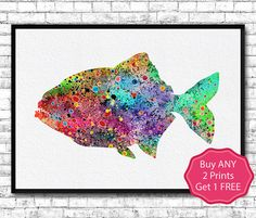 Piranha Tropical Fish Watercolor Print Piranha by ArtsPrint