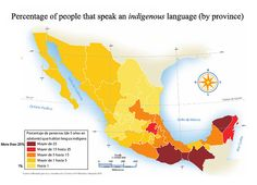 Percentage of people that speak an indigenous language (by province) in Mexico.