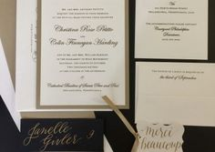 Gold and crystal wedding invitations