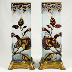 Pair Signed Baccarat Cameo Glass Vases French Art Nouveau Acid Etched Poppy & Leaf Floral Amethyst Cut to Clear Gilt Bases Baccarat Crystal, Leaf Texture, French Art, Antique Art, Textured Background, Poppy, Vases, Art Nouveau, Glass Art