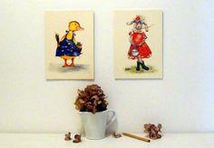 "Bilderduo ""Schaf und Ente"" von Tizia Hula auf DaWanda.com Hula, Clock, Etsy, Home Decor, Sheep, Heroes, Watch, Decoration Home, Room Decor"