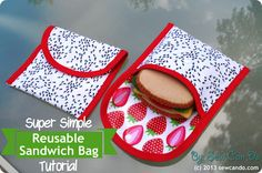 Super Simple Reusable Sandwich/Snack Bags, using laminated cotton lining, by Sew Can Do