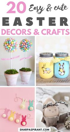 Easy Easter Decorations For The Home: Are you looking for DIY Easter decorations ideas? These homemade Easter decorations include Easter decor ideas with eggs, Easter centrepieces, Easter decorations Easter Crafts For Adults, Easter Crafts For Kids, Diy For Kids, Decor Crafts, Diy And Crafts, Diy Spring, Spring Crafts, Easter Table Decorations, Easter Activities