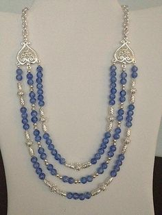 Silver & Periwinkle Crackled Bead Pattern 3 Strand