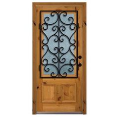 Another Door I like a lot. Steves & Sons Decorative Iron Grille 3/4 Lite Stained Knotty Alder Wood Left-Hand Entry Door with 4 in. wall and Stained Jamb-A6201RC-AW-MJ-4LH at The Home Depot