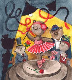 Ballerina Bear Children Watercolor by BarbaraSzepesiSzucs on Etsy, $23.00