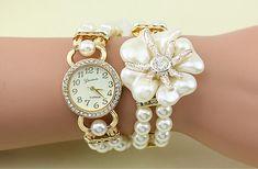 06bc4b7988d38c Mode Luxus Perle Blume Uhren Perle Uhr Frauen Quarz Uhren Dame Armbanduhren  Magnetische Schnalle Runden Zifferblatt