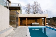 Tommesensvei - pool below house Villas, House, Modern, Home, Villa, Homes, Houses, Mansions