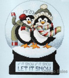 Janlynn Counted Cross Stitch Kit   SNOW GLOBE PENGUINS