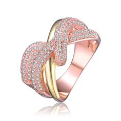 Collette Z Rose Overlay Gold and Clear Cubic Zirconia Interlocked Ring