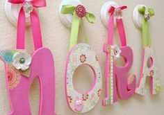 Custom name hanging wooden nursery letters handpainted wall art personalized name Baby Girl-(price is per letter)