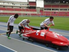 Panama has a bobsled team!! And they're on the trail towards the 2014 Winter Olympics! Looks like the lack of snow hasn't held them back either- hooray for wheels :)