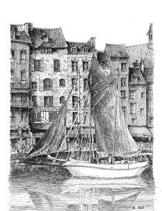 Honfeur - France. Black ink drawing by Nicolas Jolly. #drawing #ink #blackandwhite #art #village