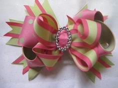 CUSTOM HAIR BOWSHot Pink and Light Green by girlsonlybowtique, $6.00