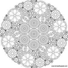 Intricate floral mandala to color- transparent png