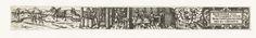 Anonymous | Januari, Anonymous, 1584 | Uit een serie van twaalf prenten, de verbeelding van de maand Januari. Links mensen op het ijs en in een arrenslee, in het midden drie personen aan een gedekte tafel in een huis met een grote kachel, rechts het sterrenbeeld Waterman en een cartouche met de tekst: Im Jenner ich wolleben thue Brach wein und Speis mit guter Rhue.