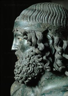 goosemilk:  Head of man with headband from a more than life-size bronze statue found in the bay of Riace,Calabria,Italy, in 1972. Probably a votive statue from the sanctuary at Delphi,shipwrecked on the Italian coast. Greek original possibly by Phidias (460 BCE).