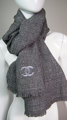 Auth-CHANEL-Womens-Gray-Silver-Metallic-Cashmere-Wool-CC-Winter-Scarf-ITALY ec09bed0004