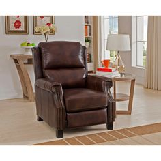 Rivington Brown Premium Top Grain Italian Leather Recliner Chair | Overstock.com Shopping - The Best Deals on Recliners