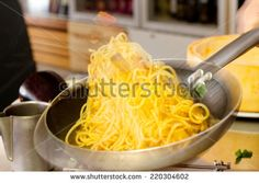 pasta saute with vegetables - stock photo
