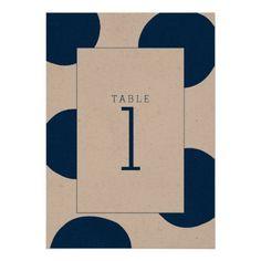 Navy Blue Spots | Modern Wedding Table Card