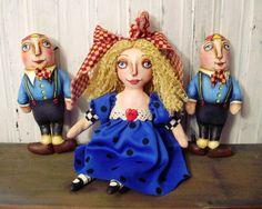Alice In Wonderland Folk Art Doll Original by Joan Sturtevant of JoanDougArt on Etsy