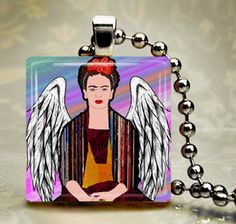 FRIDA Kahlo Jewelry - Mexican Folk Art Jewelry Pendant Necklace Charm Necklace Jewelry Silver Glass Christmas Gift | Hea