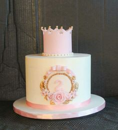 Vintage girls birthday cake, white, pink and gold, princess, crown, roses