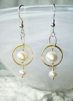 Pearl earrings silver and gold OOAK by oneoffcreations on Etsy