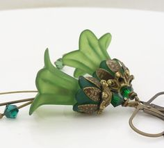 Green dangle flower earrings Dark green lucite by WickedRuby, $22.00