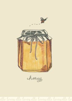 Honey Bee and Honey Jar Art Print by ellolovey on etsy Buzz Bee, I Love Bees, Jar Art, Bee Happy, Save The Bees, Bees Knees, Queen Bees, Bee Keeping, Mellow Yellow
