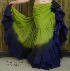 Chartreuse & Ultra Violet 25 Yard Petticoat Skirt.  You can order yours here:  http://www.paintedladyemporium.com/Shop-Here.html