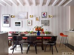 Fashion designer's creative apartment in New York (see more) #dining #room #table #chair #chairs #wallpaper #stripes #idea #inspiration #usa
