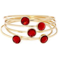 Liz Claiborne Red Crystal 5-pc. Bangle Bracelet Set ($20) ❤ liked on Polyvore featuring jewelry, bracelets, accessories, red jewelry, bracelets bangle, red jewellery, red bangle bracelet and liz claiborne