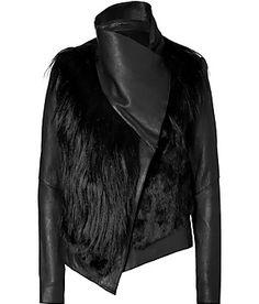 Helmut Lang Black Combo Leather Fur Jacket <3!