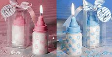 Baby Bottle Candle Favors - Blue or Pink - made of white wax with themed decors ie pacifier, teddy bear, baby carriage, and more. Baby Shower Favors, Baby Shower Themes, Baby Boy Shower, Shower Ideas, Bottle Candles, Candle Favors, Baby Boy Or Girl, Baby Kids, Baby Carriage