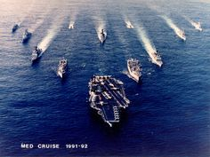 Med 1-92 Goat Rope (Group photo)  USS America leads the way. USS Scott is directly behind America.