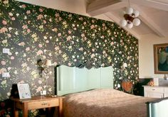 My bedroom with floral wallpaper